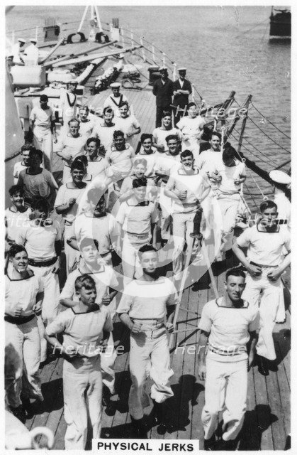Physical jerks; exercise on board HMS 'Devonshire', 1937. Artist: Unknown