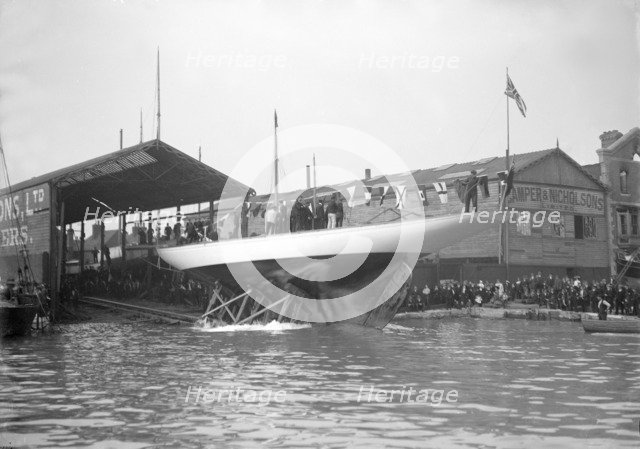 The 19-metre 'Norada' launch from the Camper & Nicholsons boat yard, Gosport, 1911. Creator: Kirk & Sons of Cowes.