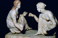Thumbnail image of Terracotta group of 'knucklebone' (astragalos) players, Hellenistic Greek, c330-c300 BC. Artist: Unknown