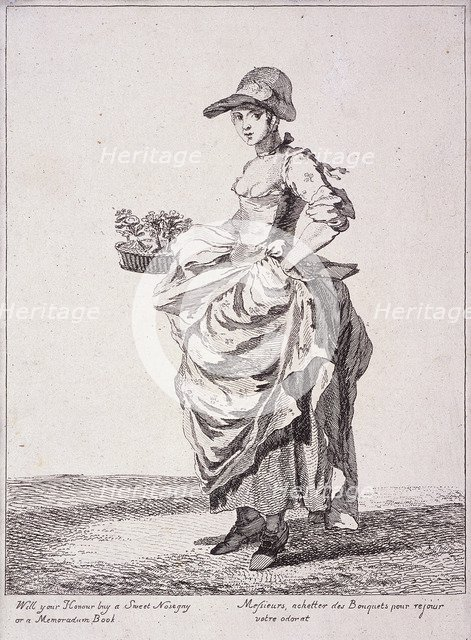 Nosegay and memo book seller, Cries of London, 1760. Artist: Paul Sandby