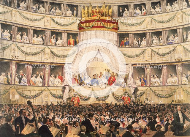 State visit to Royal Italian Opera, now the Royal Opera House, Covent Garden, London, before 1892. Artist: Unknown