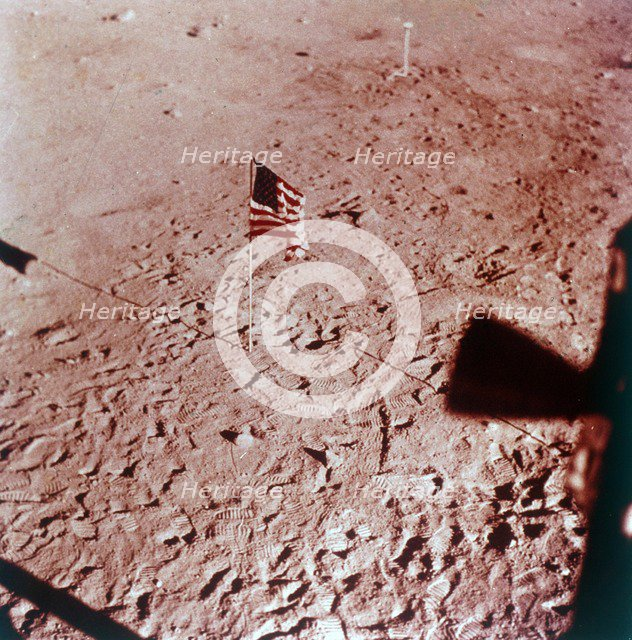 US flag on the Moon, Apollo 11 mission, July 1969.  Creator: Neil Armstrong.