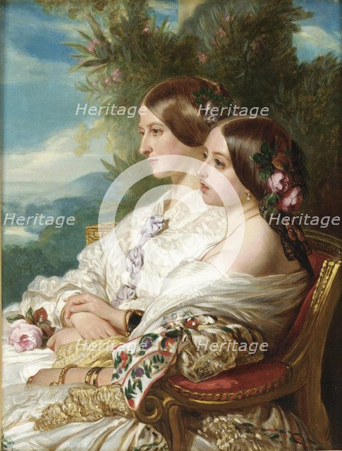 Queen Victoria and her cousin, the Duchess of Nemours, 1852. Artist: Winterhalter, Franz Xavier (1805-1873)