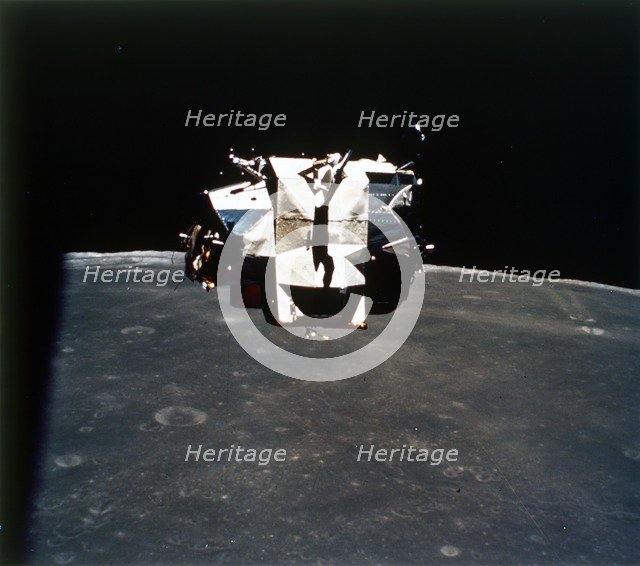 Lunar Module above the Moon, Apollo 16 mission, April 1972. Creator: Thomas Mattingly.