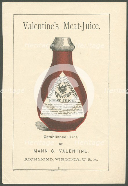 Valentine's Meat extract, 1890s. Artist: Unknown