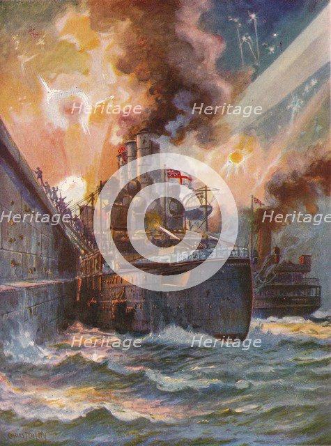 'The Vindictive at Zeebrugge', 1918 (1919). Artist: Charles John De Lacy.