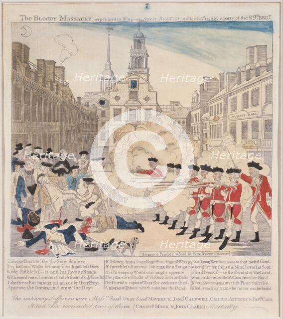 The Boston Massacre, 1770., 1770. Creator: Paul Revere.