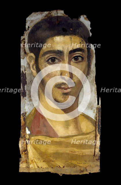 Mummy portrait in encaustic on wood panel: young man, perhaps a soldier, 193 - 235. Artist: Unknown.