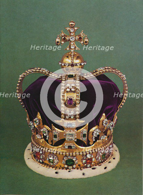'St. Edward's Crown with which the Sovereign is crowned', 1953. Artist: Unknown.