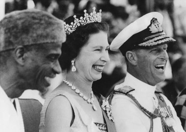 Thumbnail image of Queen Elizabeth II and Prince Philip visiting Sierra Leone, 1961. Artist: Unknown