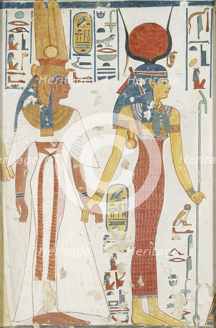 Copy of wall painting from the Queen's tomb 66 of Nefertari, Thebes, 20th century. Artist: Anna (Nina) Macpherson Davies.
