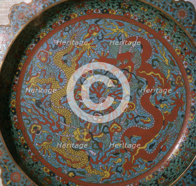 Chinese Ming Dynasty enamel dish with a design of dragons, 16th century. Artist: Unknown