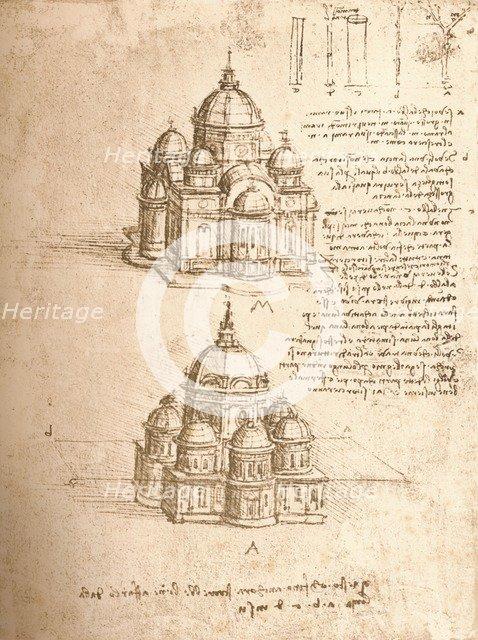 Drawing of churches, c1472-c1519 (1883). Artist: Leonardo da Vinci.