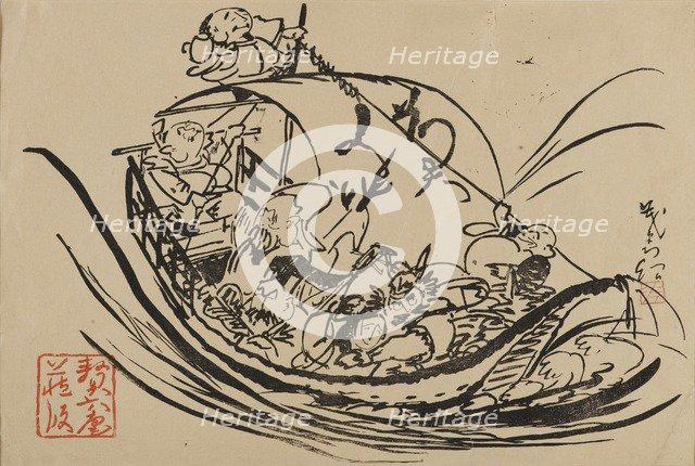 Woodblock print - Takarabune, c19th century. Artist: Shigematsu Enrosai.
