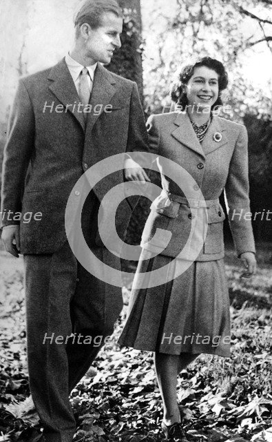 Princess Elizabeth and the Duke of Edinburgh, Broadlands, Romsey, Hampshire, 1947. Artist: Unknown