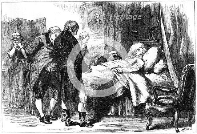 George Washington on his deathbed, Mount Vernon, Virginia, USA, 1799 (c1880). Artist: Unknown
