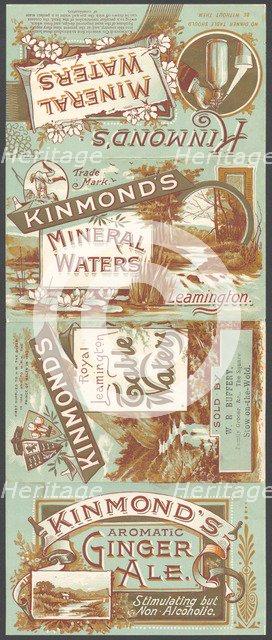 Kinmond's Mineral water, 1890s. Artist: Unknown