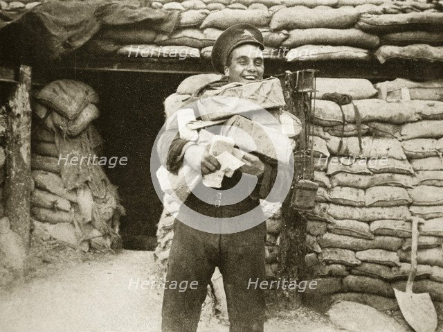 The mail arrives during the Battle of the Somme, France, World War I, 1916. Artist: Unknown