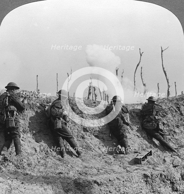 Battlefield scene, Passchendaele, Belgium, World War I, 1914-1918.Artist: Realistic Travels Publishers