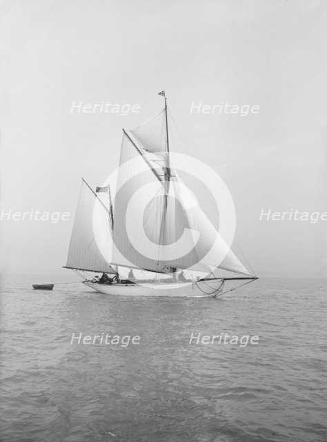 The yawl 'Meander' sailing in close-hauled, 1913. Creator: Kirk & Sons of Cowes.