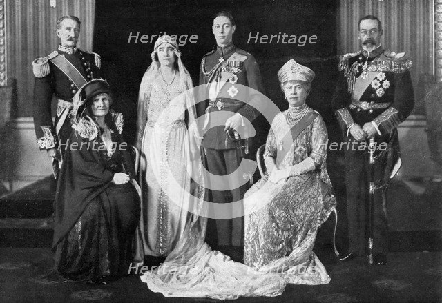 The wedding of the Duke of York and Lady Elizabeth Bowes-Lyon, 1923. Artist: Unknown