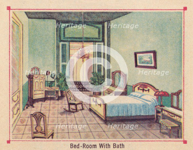 'Bed-Room With Bath - Hotel Florida - Havana - Cuba', c1910. Artist: Unknown.
