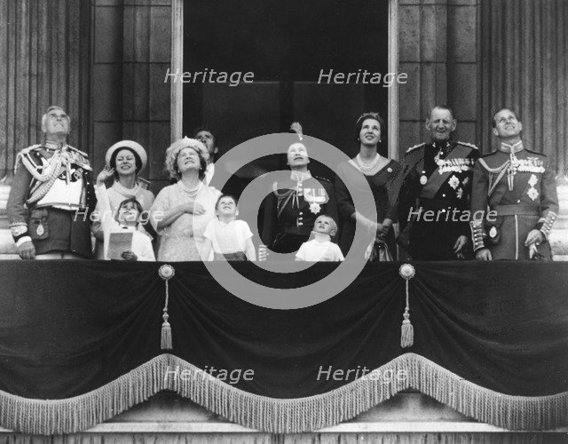 The Royal family watch a RAF flyby from the balcony of Buckingham Palace, 11th June 1966. Artist: Unknown