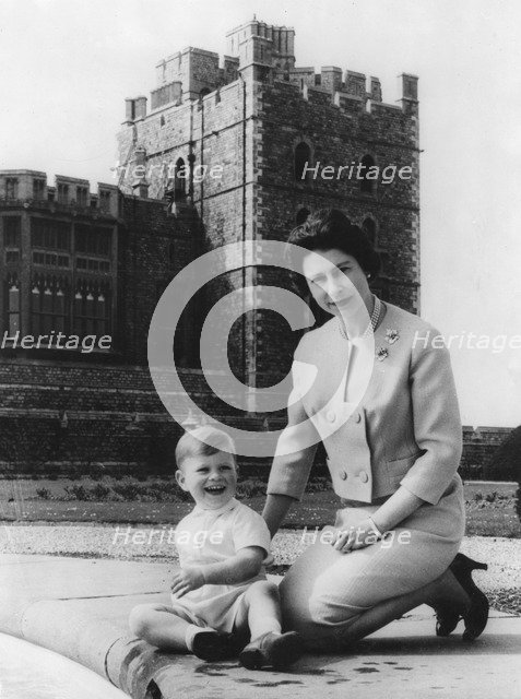 Queen Elizabeth II and Prince Andrew in the grounds of Windsor Castle, early 1960s. Artist: Unknown
