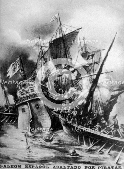 Spanish Galleon assaulted, (17th century ), 1920s. Artist: Unknown.