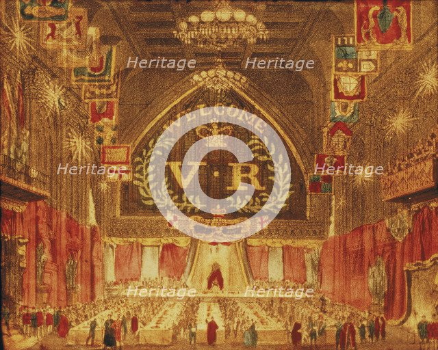 The banquet given for Queen Victoria at the Guildhall, London, 1837. Artist: Anon