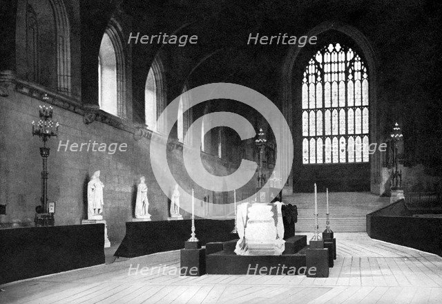 The lying in state of William Gladstone, Westminster Hall, London, 1898 (c1905).Artist: John Benjamin Stone