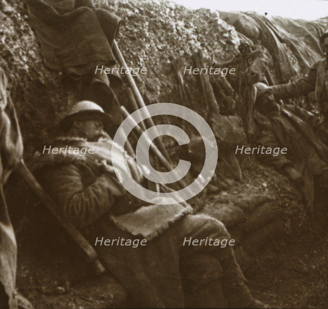 Soldiers resting in trenches, c1914-c1918. Artist: Unknown.