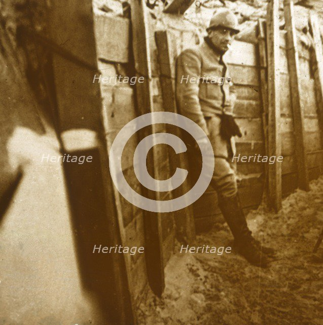 Soldier in the trenches, c1914-c1918. Artist: Unknown.