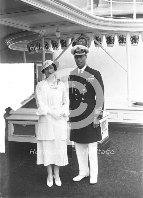 The Duke and Duchess of York aboard 'HMY Victoria and Albert', 1935. Creator: Kirk & Sons of Cowes.