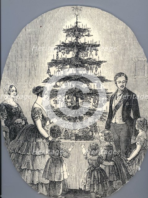 Christmas with Queen Victoria, Prince Albert, their children and Queen Victoria's mother, in 1848 (f Artist: Anonymous
