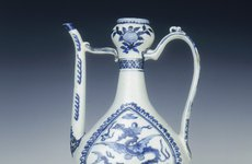 Thumbnail image of Ewer with flying sea-dragons, Ming dynasty, China, 1550-1575. Artist: Unknown