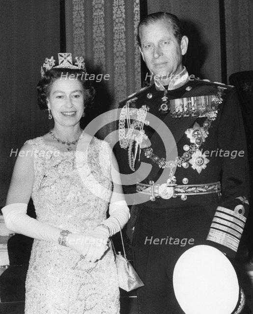 Queen Elizabeth II and Prince Philip celebrate their Silver Wedding, Buckingham Palace, 1972. Artist: Unknown