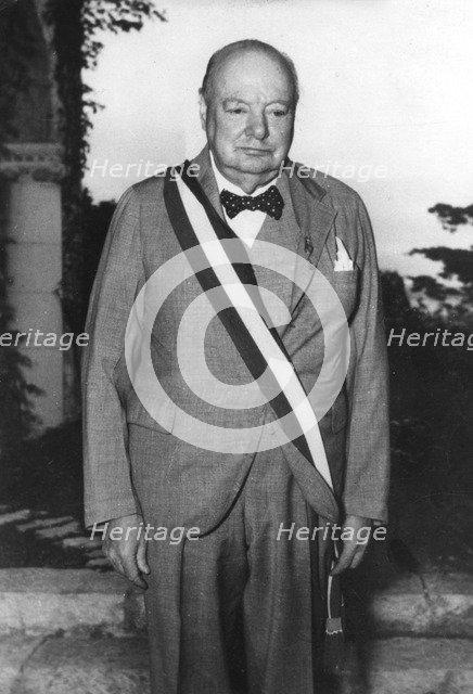 Winston Churchill in Cap d'Ail, Monaco, c1950-1965(?). Artist: Unknown