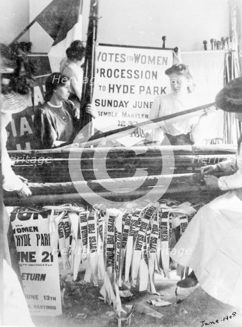 Preparing banners for Women's Sunday, London, 21 June 1908. Artist: Unknown