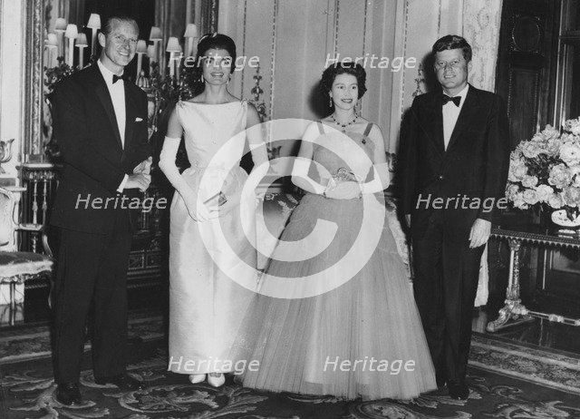 The Queen and Prince Philip with the President and Mrs Kennedy, Buckingham Palace, 1961. Artist: Unknown