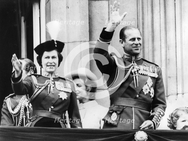 Queen Elizabeth II and Prince Philip at Buckingham Palace after the Trooping of the Colour, 1971. Artist: Unknown
