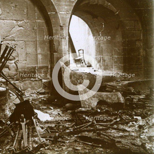 Destroyed church, Marne, northern France, c1914. Artist: Unknown.