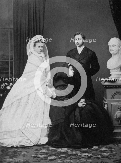 Queen Victoria with the Prince and Princess of Wales on the day of their marriage, 1863 (1964). Artist: Unknown