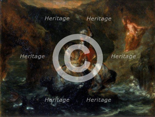 'St George Fighting the Dragon or Perseus Delivering Andromeda', 1847. Artist: Eugène Delacroix