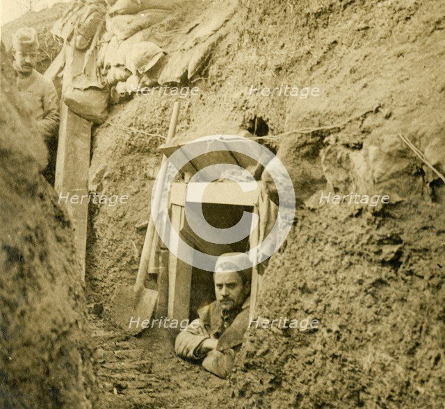 Entrance to a dug-out shelter, c1914-c1918. Artist: Unknown.