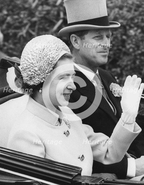 Queen Elizabeth II and the Duke of Edinburgh at Royal Ascot, 1973. Artist: Unknown