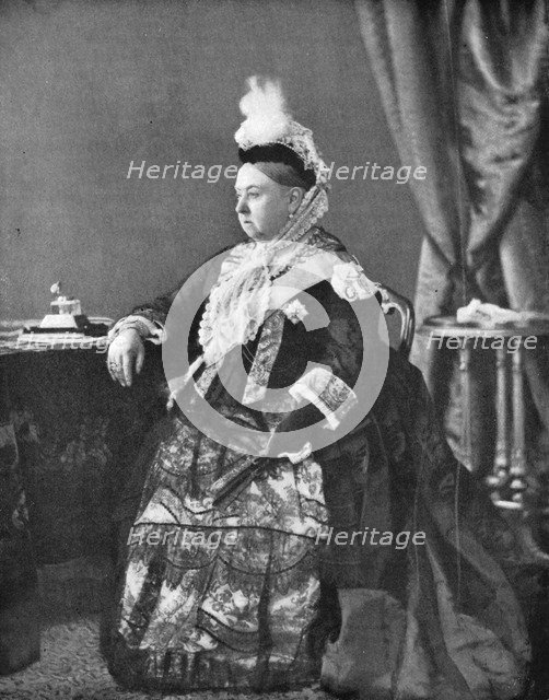 Queen Victoria in the dress she wore at her Golden Jubilee service, 1887. Creator: Hughes & Mullins.