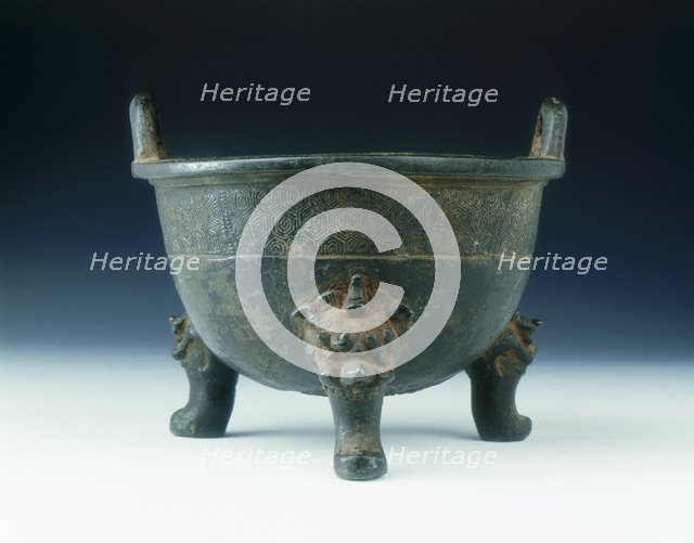 Bronze ding with tortoise shell diaper pattern, Ming dynasty, China, 1528. Artist: Unknown