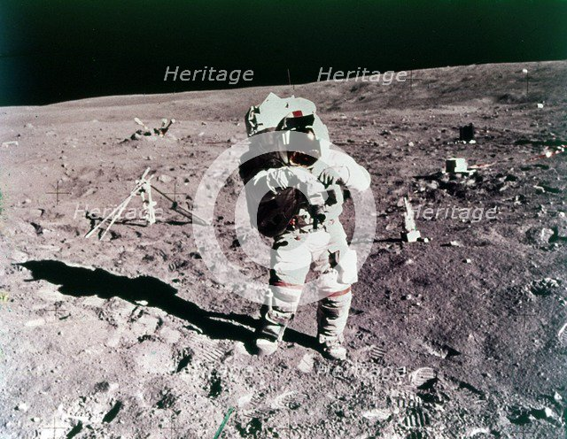 Astronaut John Young on the lunar surface, Apollo 16 mission, April 1972. Creator: Charles Duke.