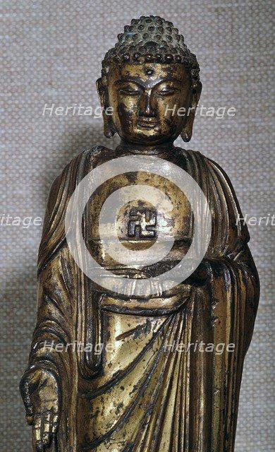 Chinese Ming dynasty gilt-bronze Buddha, 14th century. Artist: Unknown